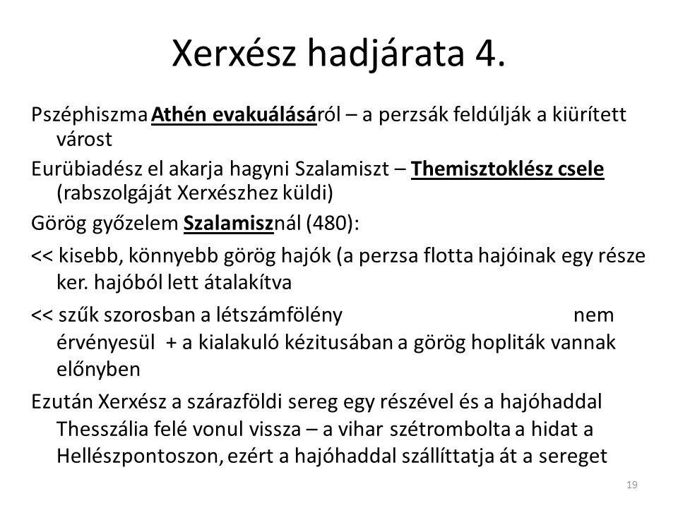 19 Xerxész hadjárata 4. Pszéphiszma Athén evakuálásáról – a perzsák feldúlják a kiürített várost Eurübiadész el akarja hagyni Szalamiszt – Themisztokl