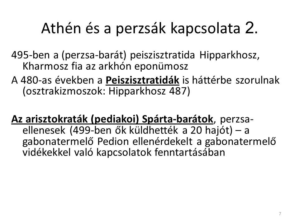 7 Athén és a perzsák kapcsolata 2. 495-ben a (perzsa-barát) peiszisztratida Hipparkhosz, Kharmosz fia az arkhón eponümosz A 480-as években a Peisziszt