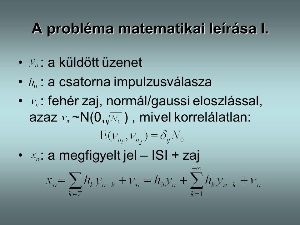 A probléma matematikai leírása I. : a küldött üzenet : a csatorna impulzusválasza : fehér zaj, normál/gaussi eloszlással, azaz ~N(0, ), mivel korrelál