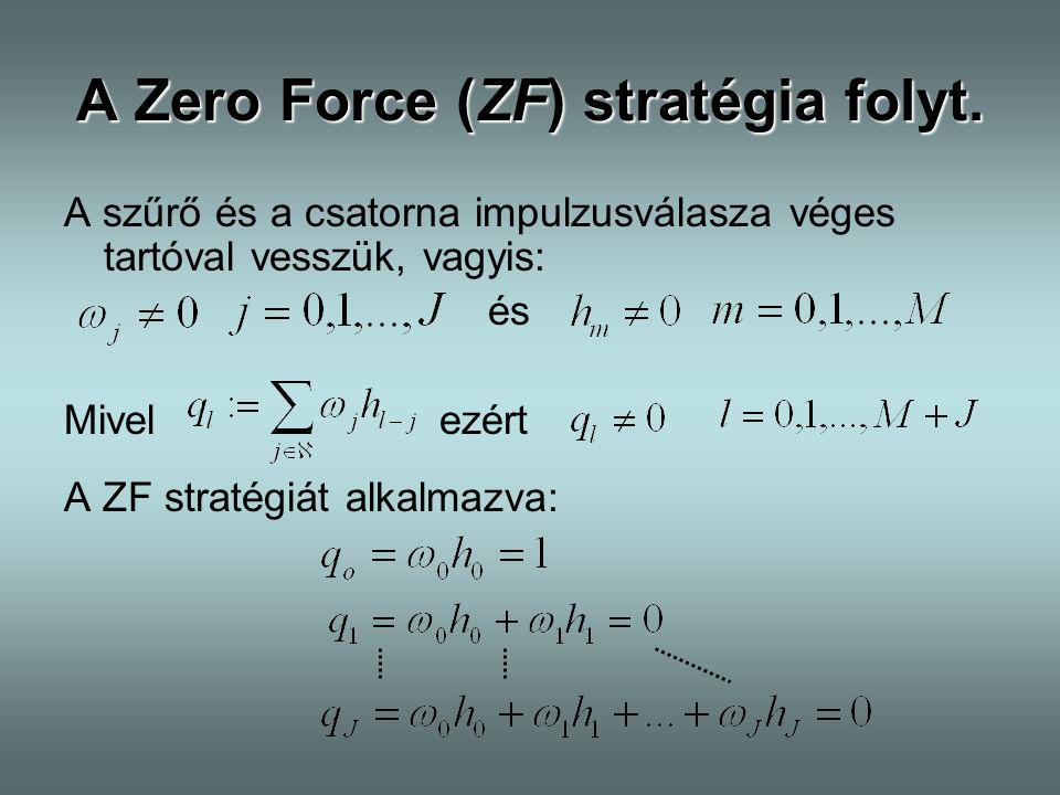 A Zero Force (ZF) stratégia folyt. A szűrő és a csatorna impulzusválasza véges tartóval vesszük, vagyis: és Mivel ezért A ZF stratégiát alkalmazva: