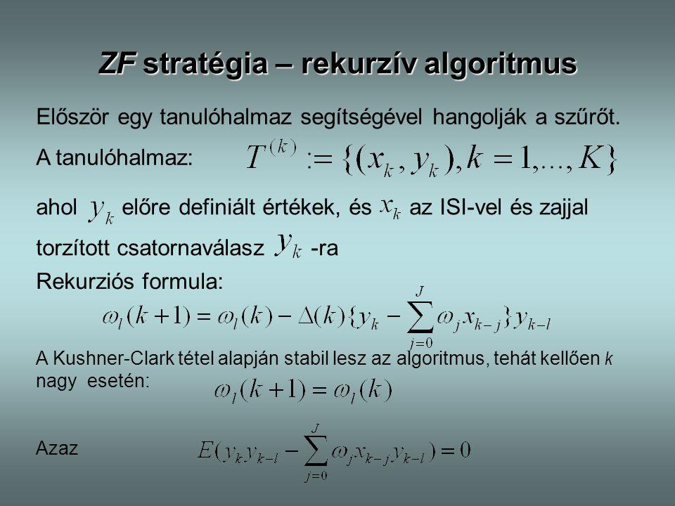 ZF stratégia – rekurzív algoritmus Először egy tanulóhalmaz segítségével hangolják a szűrőt. A tanulóhalmaz: ahol előre definiált értékek, és az ISI-v