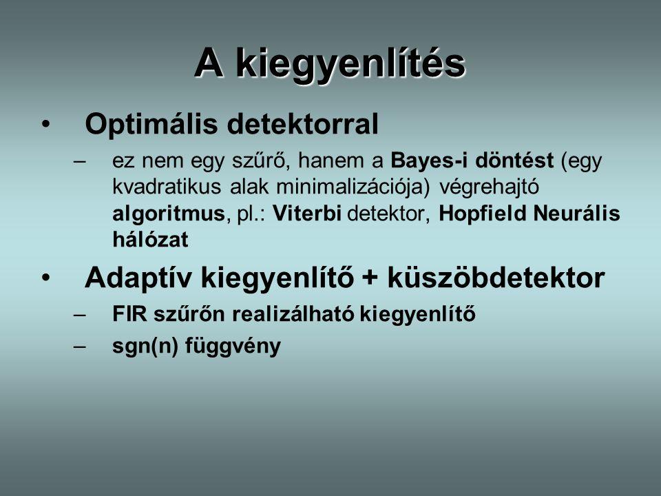 A kiegyenlítés Optimális detektorral –ez nem egy szűrő, hanem a Bayes-i döntést (egy kvadratikus alak minimalizációja) végrehajtó algoritmus, pl.: Vit