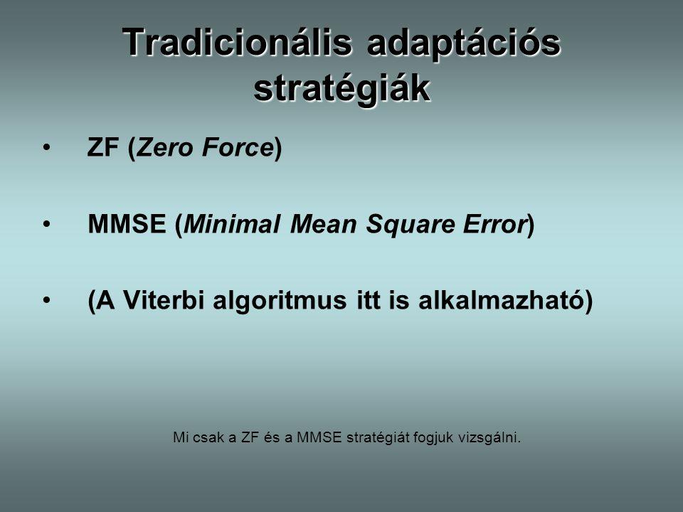 Tradicionális adaptációs stratégiák ZF (Zero Force) MMSE (Minimal Mean Square Error) (A Viterbi algoritmus itt is alkalmazható) Mi csak a ZF és a MMSE