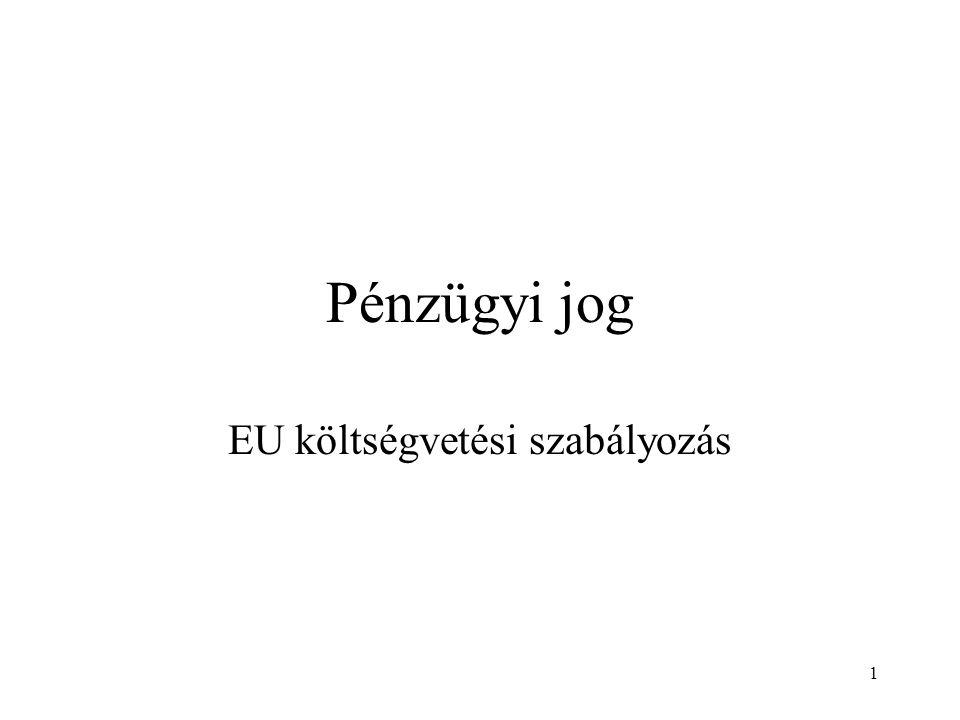 1 Pénzügyi jog EU költségvetési szabályozás
