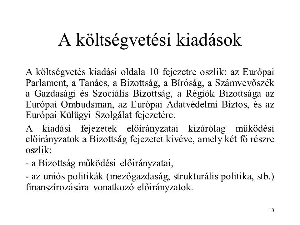 13 A költségvetési kiadások A költségvetés kiadási oldala 10 fejezetre oszlik: az Európai Parlament, a Tanács, a Bizottság, a Bíróság, a Számvevőszék a Gazdasági és Szociális Bizottság, a Régiók Bizottsága az Európai Ombudsman, az Európai Adatvédelmi Biztos, és az Európai Külügyi Szolgálat fejezetére.