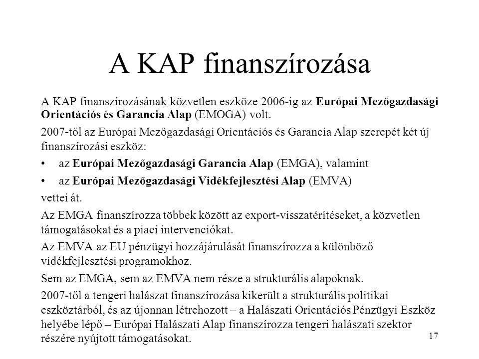 17 A KAP finanszírozása A KAP finanszírozásának közvetlen eszköze 2006-ig az Európai Mezőgazdasági Orientációs és Garancia Alap (EMOGA) volt. 2007-től