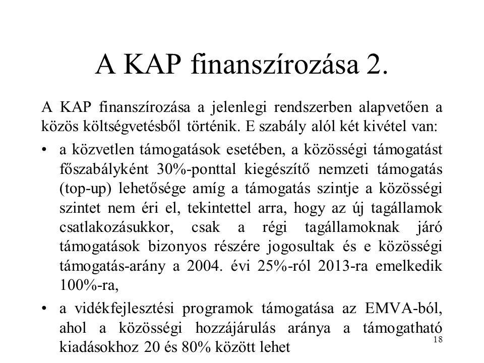 A KAP finanszírozása 2. A KAP finanszírozása a jelenlegi rendszerben alapvetően a közös költségvetésből történik. E szabály alól két kivétel van: a kö