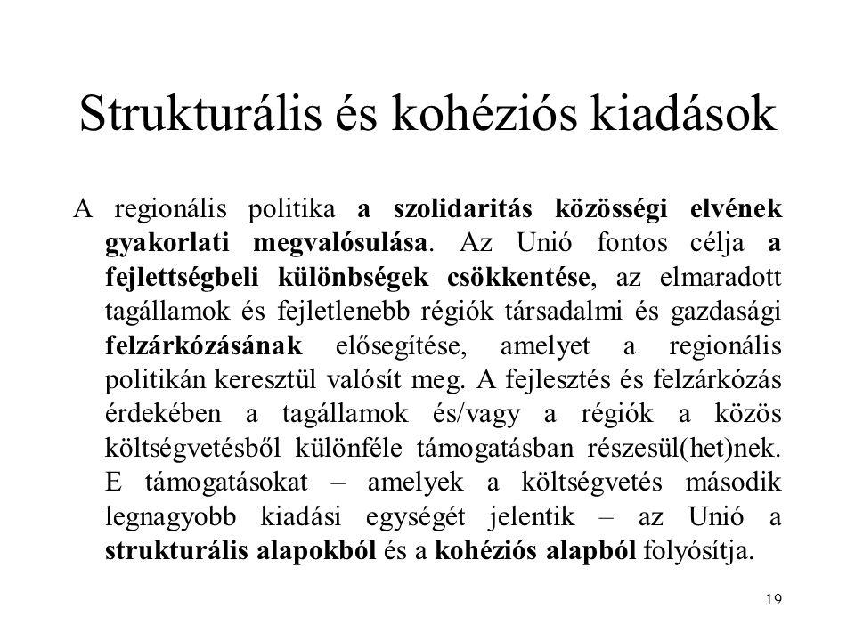 19 Strukturális és kohéziós kiadások A regionális politika a szolidaritás közösségi elvének gyakorlati megvalósulása. Az Unió fontos célja a fejlettsé