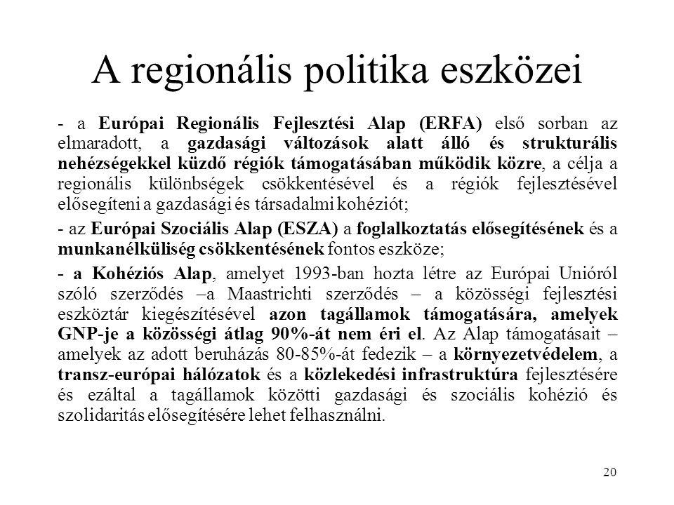 20 A regionális politika eszközei - a Európai Regionális Fejlesztési Alap (ERFA) első sorban az elmaradott, a gazdasági változások alatt álló és strukturális nehézségekkel küzdő régiók támogatásában működik közre, a célja a regionális különbségek csökkentésével és a régiók fejlesztésével elősegíteni a gazdasági és társadalmi kohéziót; - az Európai Szociális Alap (ESZA) a foglalkoztatás elősegítésének és a munkanélküliség csökkentésének fontos eszköze; - a Kohéziós Alap, amelyet 1993-ban hozta létre az Európai Unióról szóló szerződés –a Maastrichti szerződés – a közösségi fejlesztési eszköztár kiegészítésével azon tagállamok támogatására, amelyek GNP-je a közösségi átlag 90%-át nem éri el.