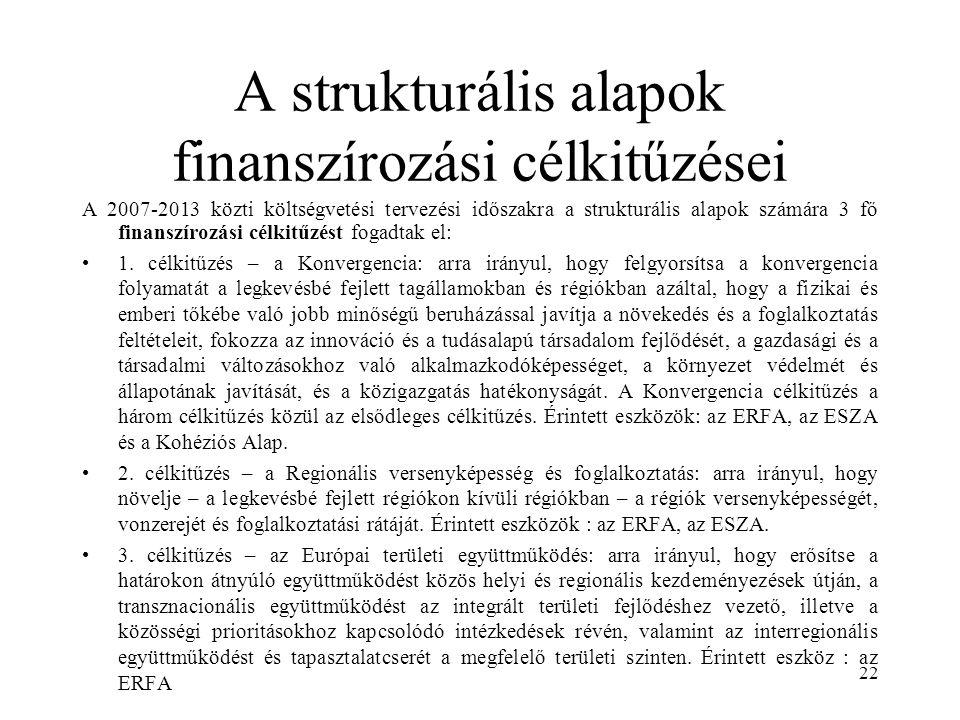 22 A strukturális alapok finanszírozási célkitűzései A 2007-2013 közti költségvetési tervezési időszakra a strukturális alapok számára 3 fő finanszírozási célkitűzést fogadtak el: 1.