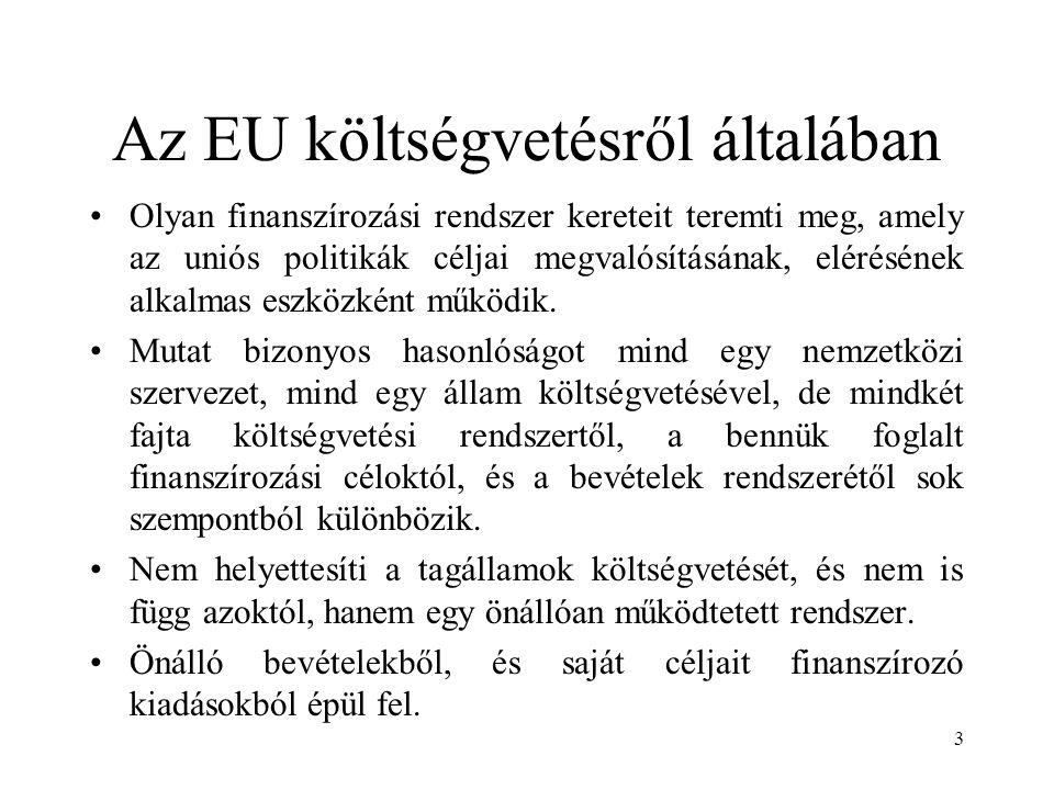 Az EU költségvetésről általában Olyan finanszírozási rendszer kereteit teremti meg, amely az uniós politikák céljai megvalósításának, elérésének alkalmas eszközként működik.