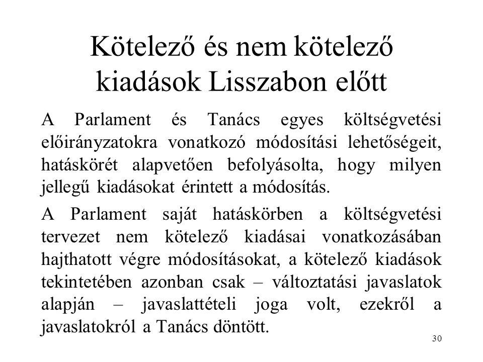 Kötelező és nem kötelező kiadások Lisszabon előtt A Parlament és Tanács egyes költségvetési előirányzatokra vonatkozó módosítási lehetőségeit, hatáskörét alapvetően befolyásolta, hogy milyen jellegű kiadásokat érintett a módosítás.