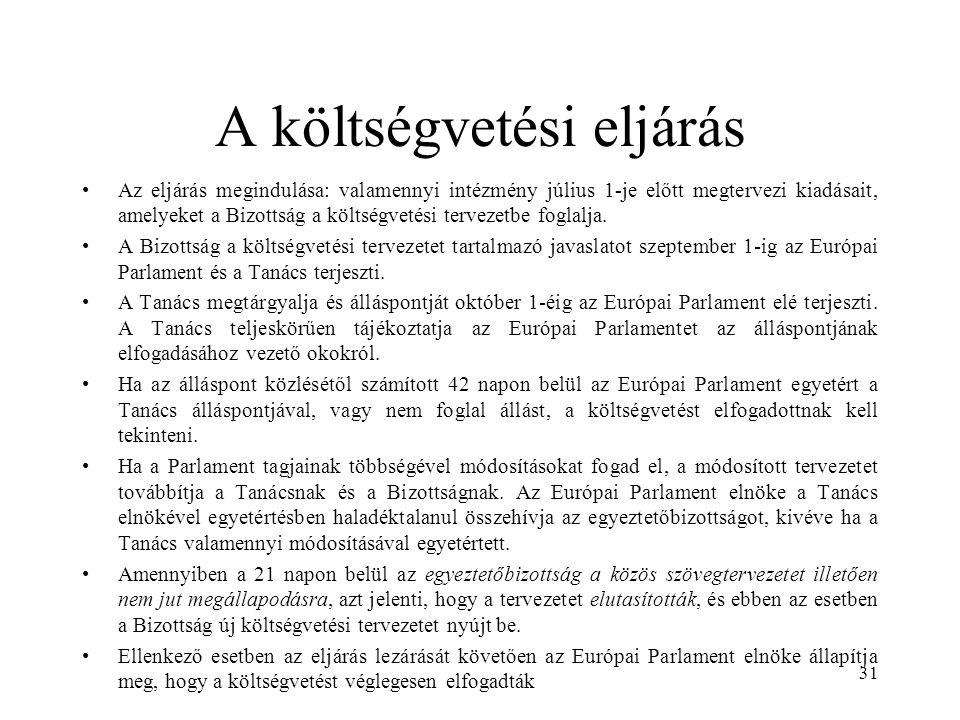 A költségvetési eljárás Az eljárás megindulása: valamennyi intézmény július 1-je előtt megtervezi kiadásait, amelyeket a Bizottság a költségvetési tervezetbe foglalja.