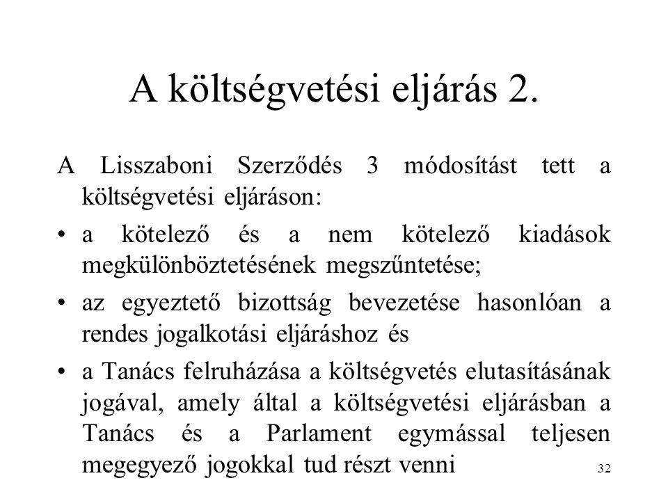 A költségvetési eljárás 2. A Lisszaboni Szerződés 3 módosítást tett a költségvetési eljáráson: a kötelező és a nem kötelező kiadások megkülönböztetésé