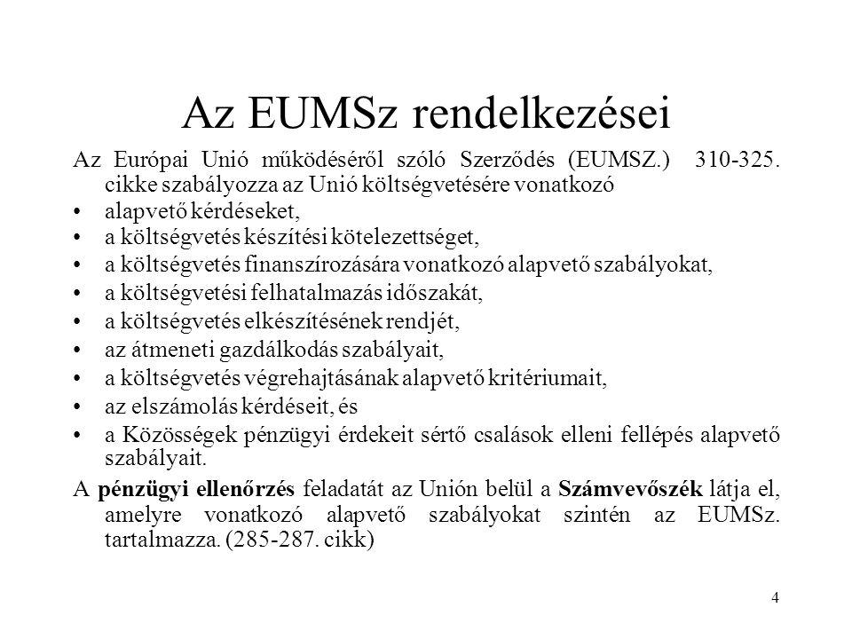 4 Az EUMSz rendelkezései Az Európai Unió működéséről szóló Szerződés (EUMSZ.) 310-325. cikke szabályozza az Unió költségvetésére vonatkozó alapvető ké