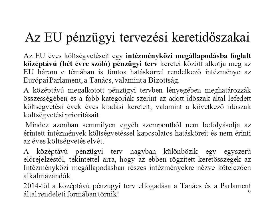 9 Az EU pénzügyi tervezési keretidőszakai Az EU éves költségvetéseit egy intézményközi megállapodásba foglalt középtávú (hét évre szóló) pénzügyi terv keretei között alkotja meg az EU három e témában is fontos hatáskörrel rendelkező intézménye az Európai Parlament, a Tanács, valamint a Bizottság.