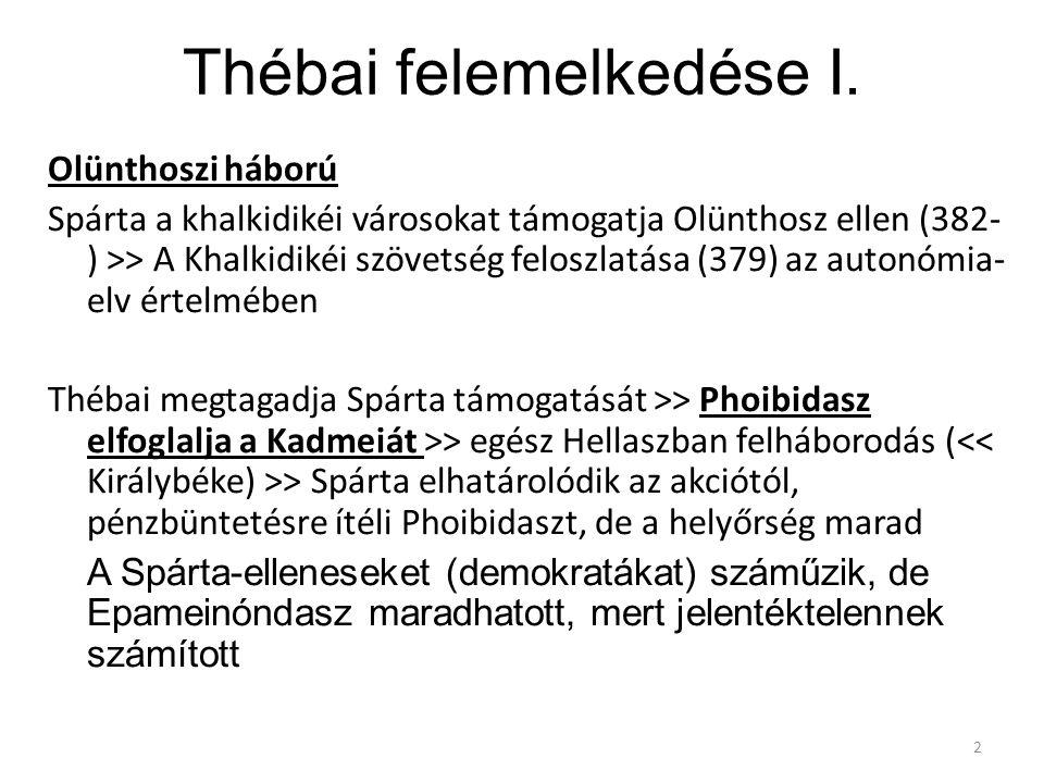 Thébai felemelkedése I. Olünthoszi háború Spárta a khalkidikéi városokat támogatja Olünthosz ellen (382- ) >> A Khalkidikéi szövetség feloszlatása (37