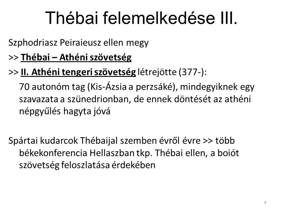 Thébai felemelkedése III. Szphodriasz Peiraieusz ellen megy >> Thébai – Athéni szövetség >> II. Athéni tengeri szövetség létrejötte (377-): 70 autonóm