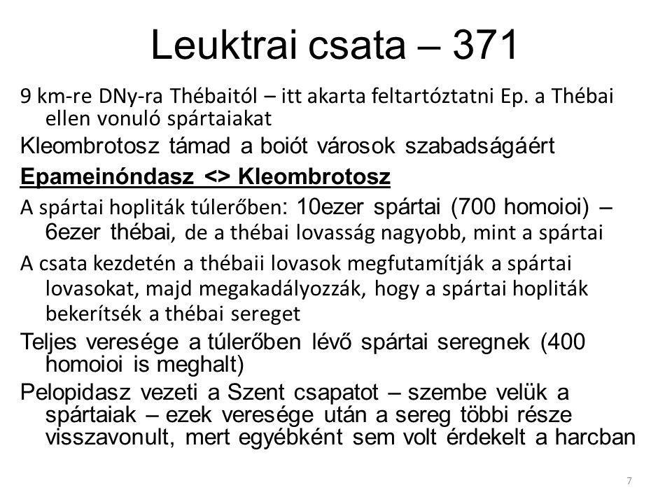 Leuktrai csata – 371 9 km-re DNy-ra Thébaitól – itt akarta feltartóztatni Ep. a Thébai ellen vonuló spártaiakat Kleombrotosz támad a boiót városok sza