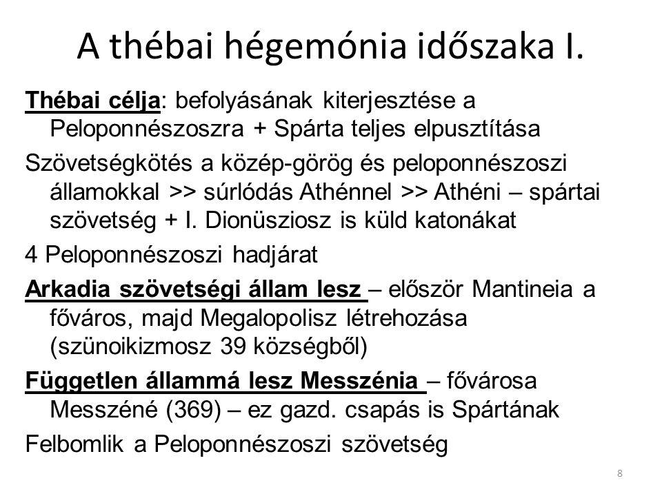 A thébai hégemónia időszaka I. Thébai célja: befolyásának kiterjesztése a Peloponnészoszra + Spárta teljes elpusztítása Szövetségkötés a közép-görög é