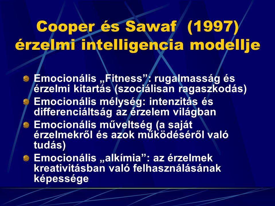 """Cooper és Sawaf (1997) érzelmi intelligencia modellje Emocionális """"Fitness"""": rugalmasság és érzelmi kitartás (szociálisan ragaszkodás) Emocionális mél"""