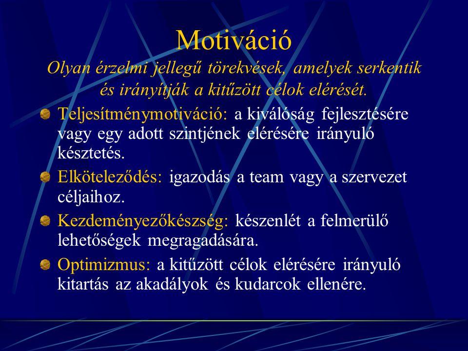 Motiváció Olyan érzelmi jellegű törekvések, amelyek serkentik és irányítják a kitűzött célok elérését. Teljesítménymotiváció: a kiválóság fejlesztésér
