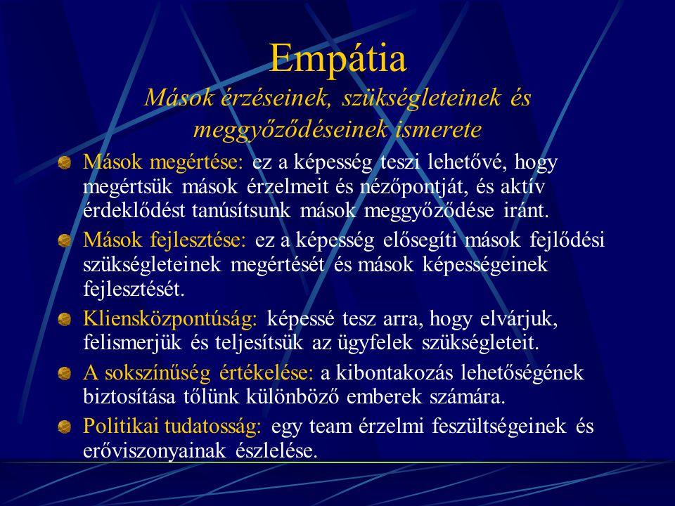 Empátia Mások érzéseinek, szükségleteinek és meggyőződéseinek ismerete Mások megértése: ez a képesség teszi lehetővé, hogy megértsük mások érzelmeit é