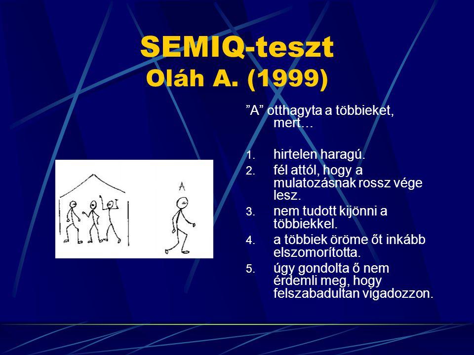 """SEMIQ-teszt Oláh A. (1999) """"A"""" otthagyta a többieket, mert… 1. hirtelen haragú. 2. fél attól, hogy a mulatozásnak rossz vége lesz. 3. nem tudott kijön"""