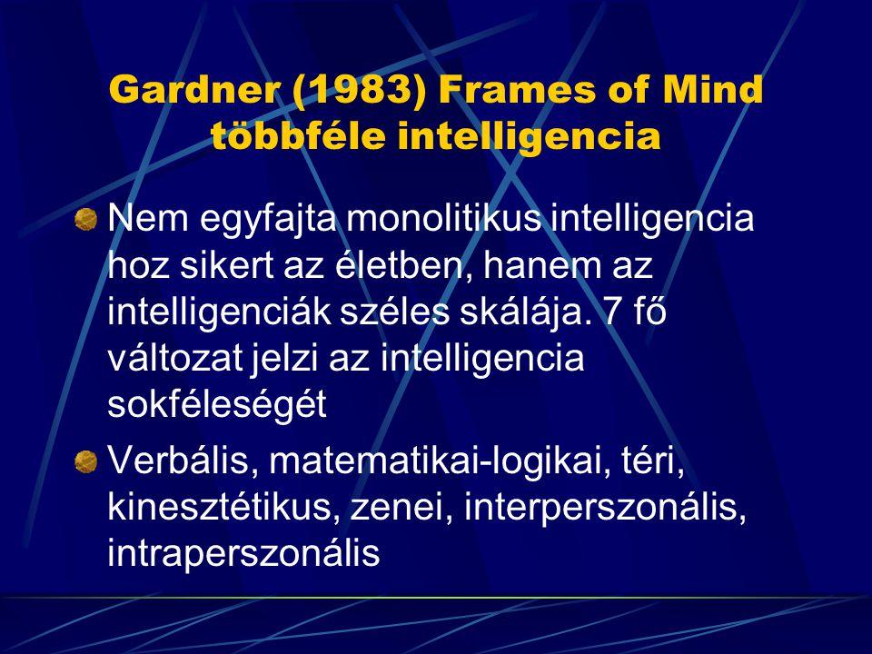 Gardner (1983) Frames of Mind többféle intelligencia Nem egyfajta monolitikus intelligencia hoz sikert az életben, hanem az intelligenciák széles skál
