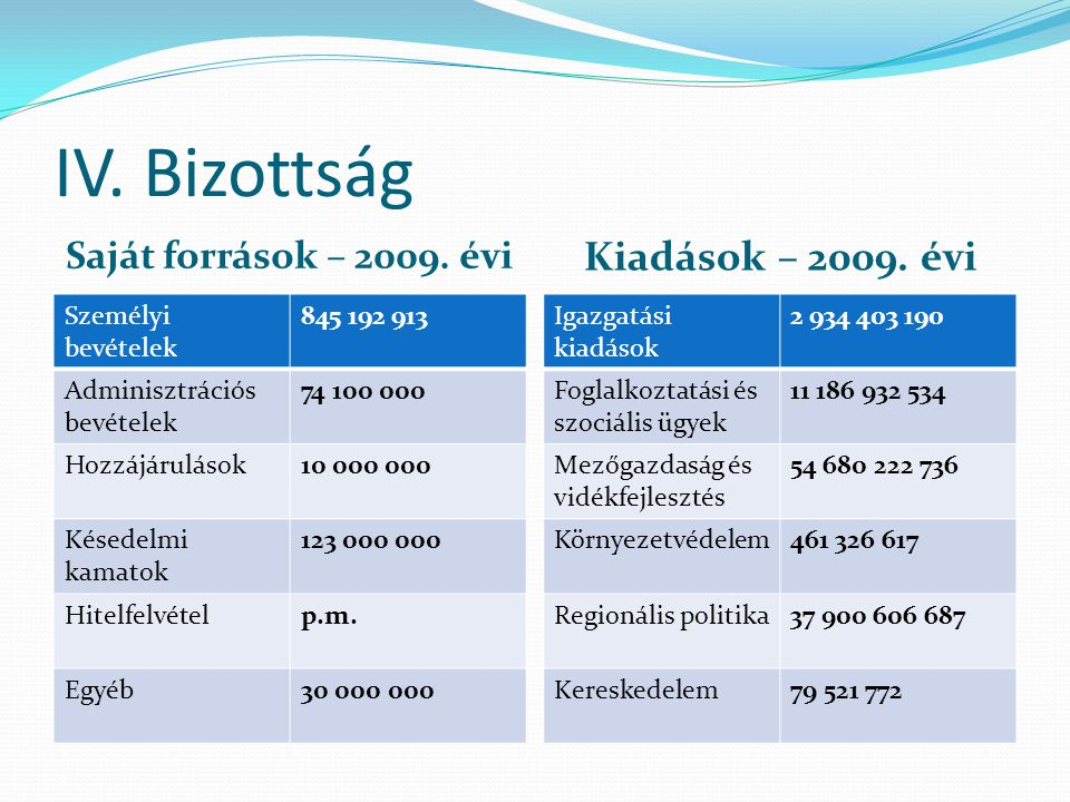 IV. Bizottság Saját források – 2009. évi Kiadások – 2009.