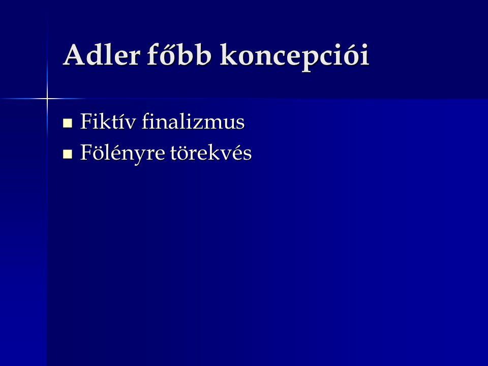 Adler főbb koncepciói Fiktív finalizmus Fiktív finalizmus Fölényre törekvés Fölényre törekvés