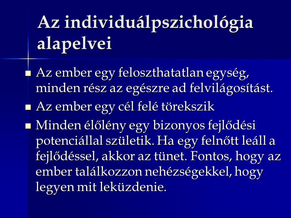 Az individuálpszichológia alapelvei Az ember egy feloszthatatlan egység, minden rész az egészre ad felvilágosítást. Az ember egy feloszthatatlan egysé