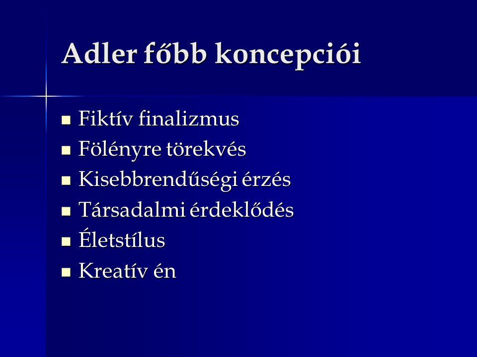 Adler főbb koncepciói Fiktív finalizmus Fiktív finalizmus Fölényre törekvés Fölényre törekvés Kisebbrendűségi érzés Kisebbrendűségi érzés Társadalmi é