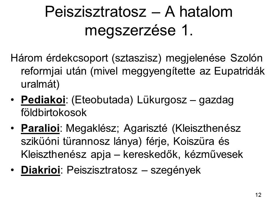 12 Peiszisztratosz – A hatalom megszerzése 1. Három érdekcsoport (sztaszisz) megjelenése Szolón reformjai után (mivel meggyengítette az Eupatridák ura