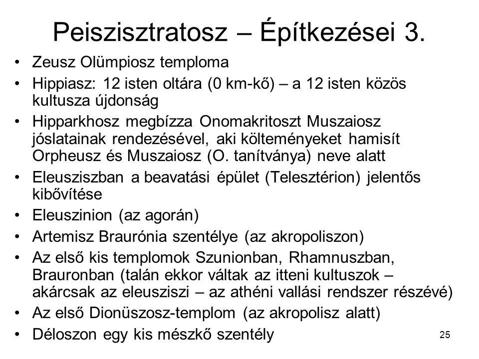 25 Peiszisztratosz – Építkezései 3. Zeusz Olümpiosz temploma Hippiasz: 12 isten oltára (0 km-kő) – a 12 isten közös kultusza újdonság Hipparkhosz megb