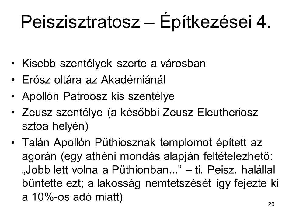 26 Peiszisztratosz – Építkezései 4. Kisebb szentélyek szerte a városban Erósz oltára az Akadémiánál Apollón Patroosz kis szentélye Zeusz szentélye (a