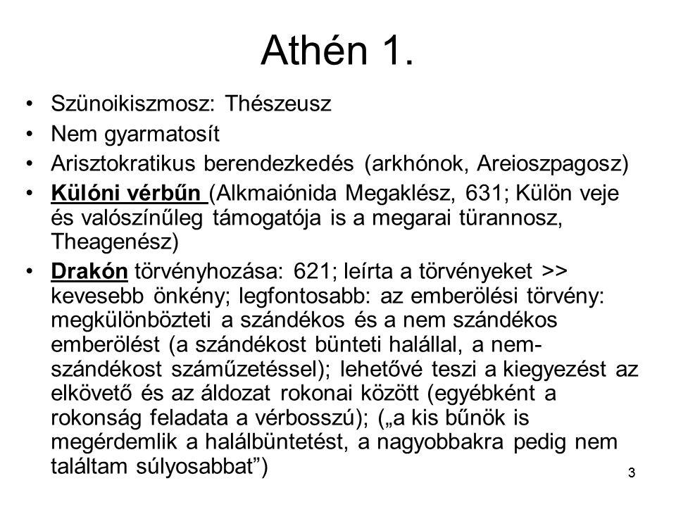 33 Athén 1. Szünoikiszmosz: Thészeusz Nem gyarmatosít Arisztokratikus berendezkedés (arkhónok, Areioszpagosz) Külóni vérbűn (Alkmaiónida Megaklész, 63