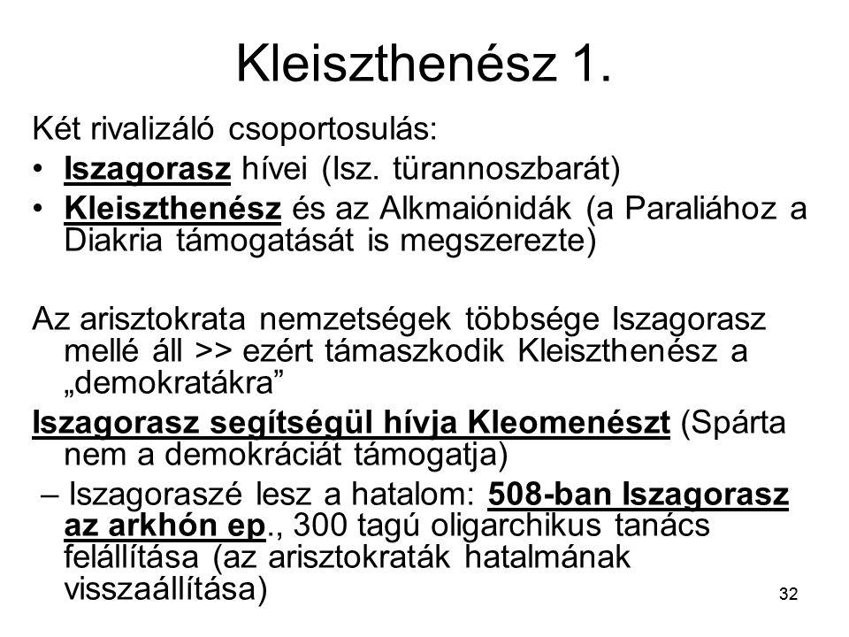 32 Kleiszthenész 1. Két rivalizáló csoportosulás: Iszagorasz hívei (Isz. türannoszbarát) Kleiszthenész és az Alkmaiónidák (a Paraliához a Diakria támo
