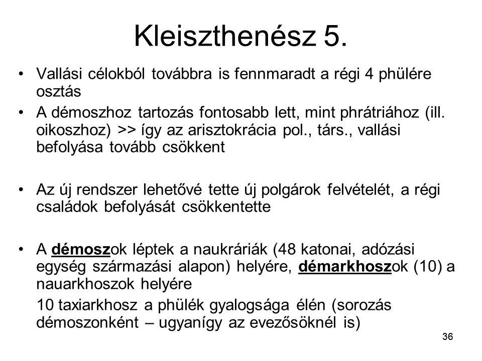 36 Kleiszthenész 5. Vallási célokból továbbra is fennmaradt a régi 4 phülére osztás A démoszhoz tartozás fontosabb lett, mint phrátriához (ill. oikosz