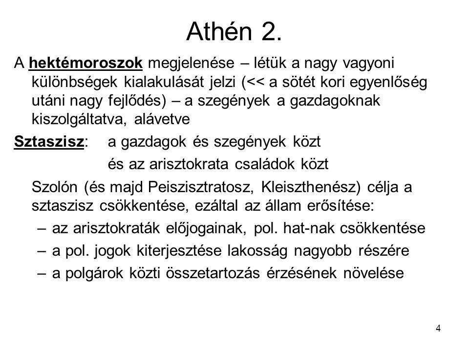 4 Athén 2. A hektémoroszok megjelenése – létük a nagy vagyoni különbségek kialakulását jelzi (<< a sötét kori egyenlőség utáni nagy fejlődés) – a szeg