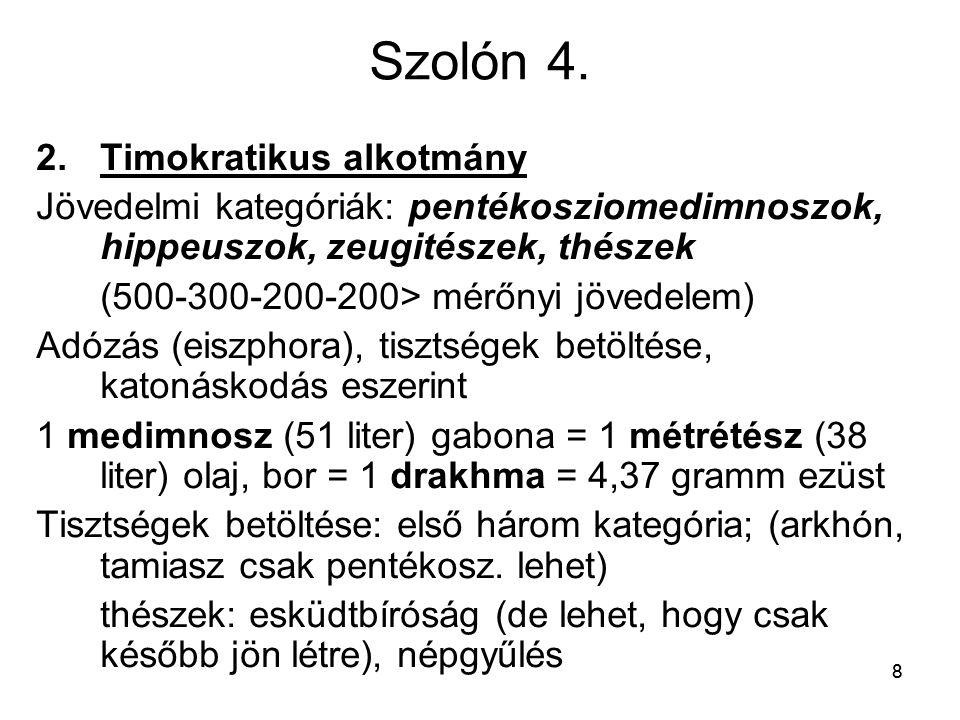 88 Szolón 4. 2.Timokratikus alkotmány Jövedelmi kategóriák: pentékosziomedimnoszok, hippeuszok, zeugitészek, thészek (500-300-200-200> mérőnyi jövedel