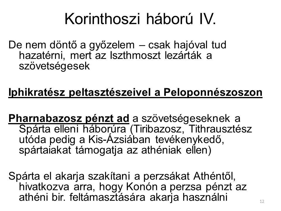12 Korinthoszi háború IV. De nem döntő a győzelem – csak hajóval tud hazatérni, mert az Iszthmoszt lezárták a szövetségesek Iphikratész peltasztészeiv
