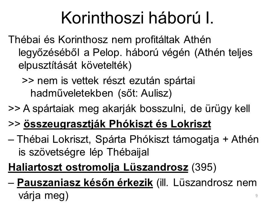 9 Korinthoszi háború I. Thébai és Korinthosz nem profitáltak Athén legyőzéséből a Pelop. háború végén (Athén teljes elpusztítását követelték) >> nem i