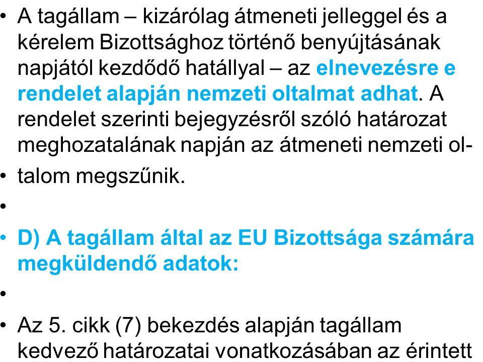 tagállam a következőket juttatja el a Bizottsághoz: a) a kérelmező csoportosulás neve és címe; b) egységes dokumentum; (bejegyzés iránti kérelem kellékei l.