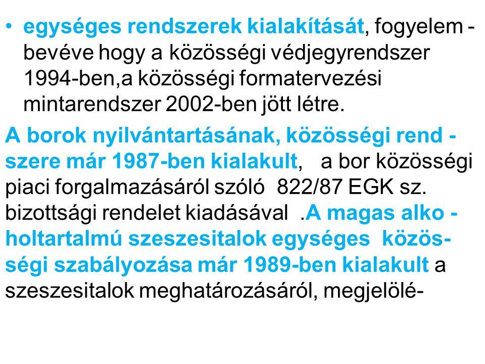sének és kiszerelésének általános szabályairól szóló 1576/89 EGK sz.