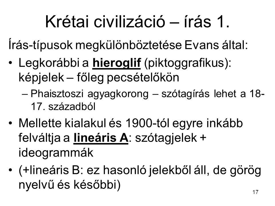 17 Krétai civilizáció – írás 1. Írás-típusok megkülönböztetése Evans által: Legkorábbi a hieroglif (piktoggrafikus): képjelek – főleg pecsételőkön –Ph