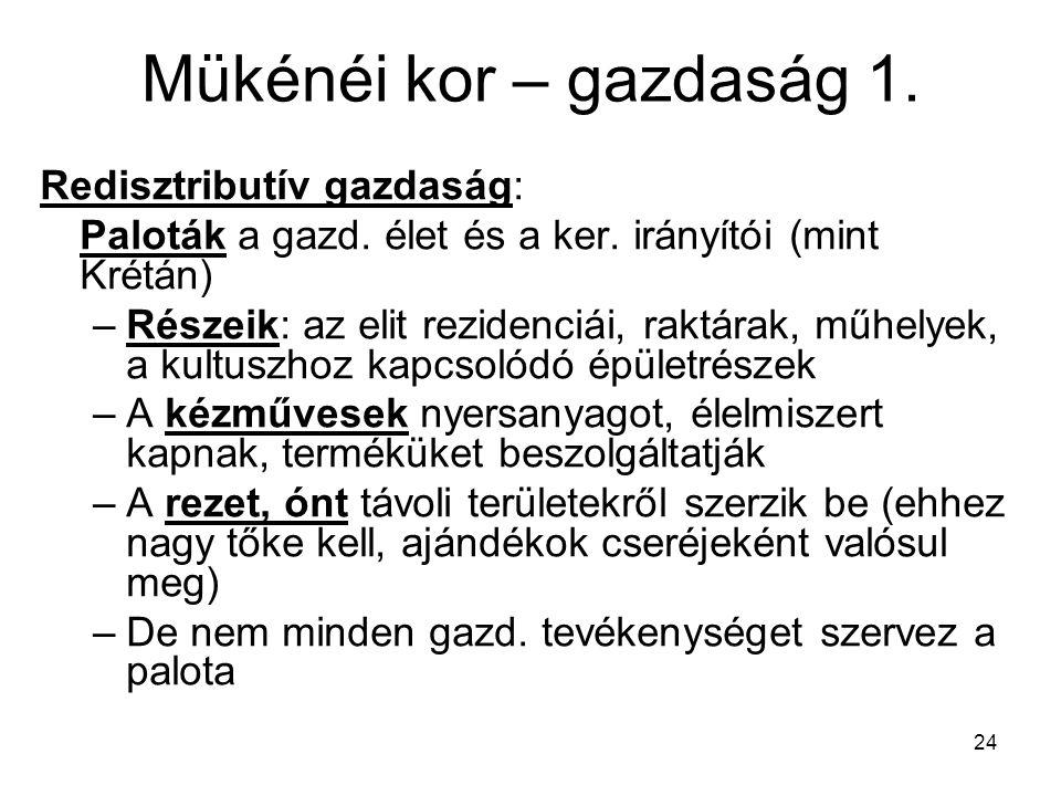 24 Mükénéi kor – gazdaság 1.Redisztributív gazdaság: Paloták a gazd.