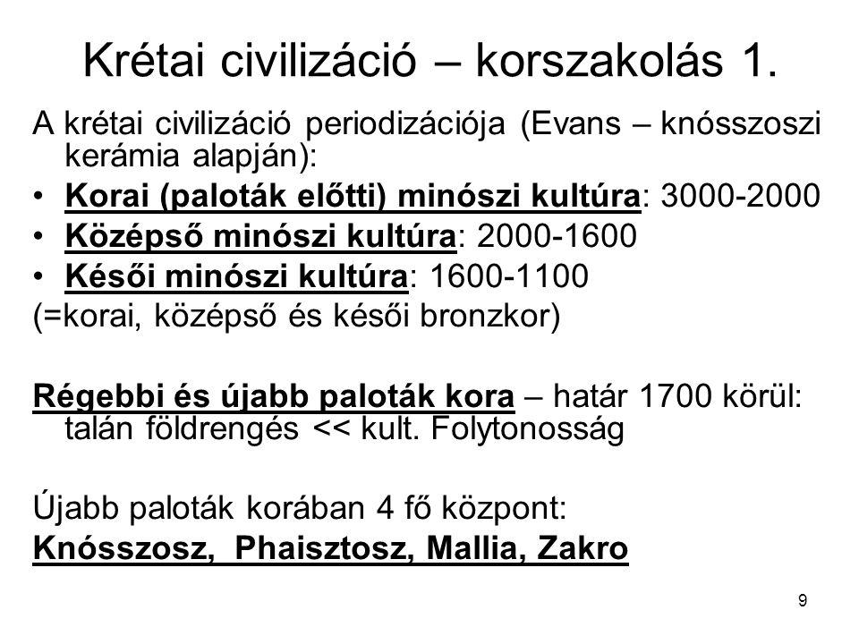 9 Krétai civilizáció – korszakolás 1. A krétai civilizáció periodizációja (Evans – knósszoszi kerámia alapján): Korai (paloták előtti) minószi kultúra