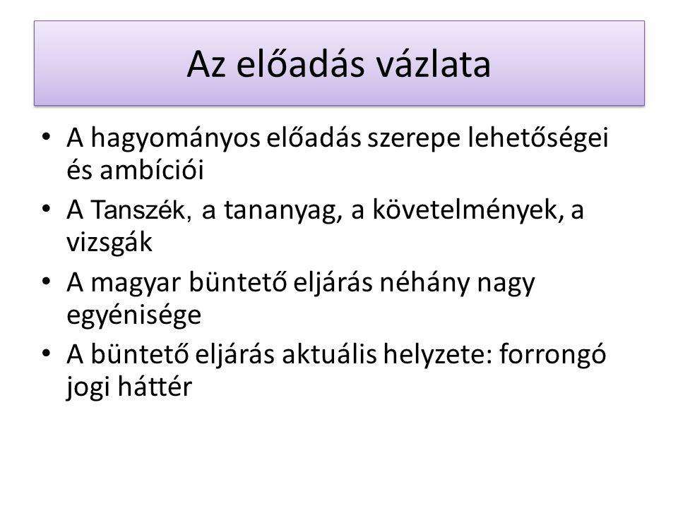 Az előadás vázlata A hagyományos előadás szerepe lehetőségei és ambíciói A Tanszék, a tananyag, a követelmények, a vizsgák A magyar büntető eljárás né