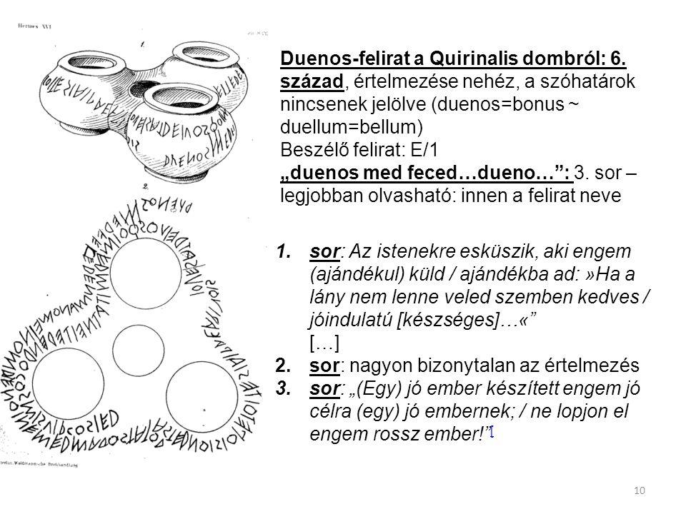 10 Duenos-felirat a Quirinalis dombról: 6. század, értelmezése nehéz, a szóhatárok nincsenek jelölve (duenos=bonus ~ duellum=bellum) Beszélő felirat: